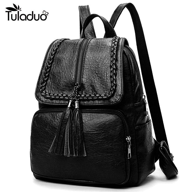 Fashion Korean Women Casual Backpack Leather Tassels Zipper Bags Big Capacity Girls School Shoulder Bag Mochila Feminina New Y19061102