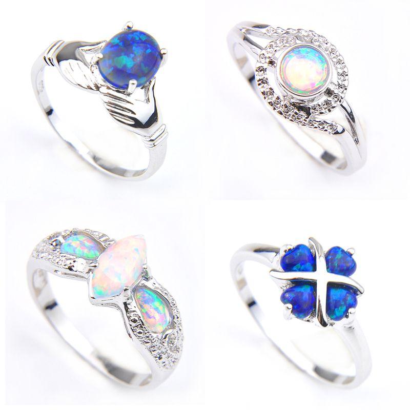 Luckyshine Wedding Ring 4 Pcs Classic four Style Blue White Fire Opal Gemstone 925 Anillos de flores de plata para mujeres Fiesta de bodas Regalos de vacaciones