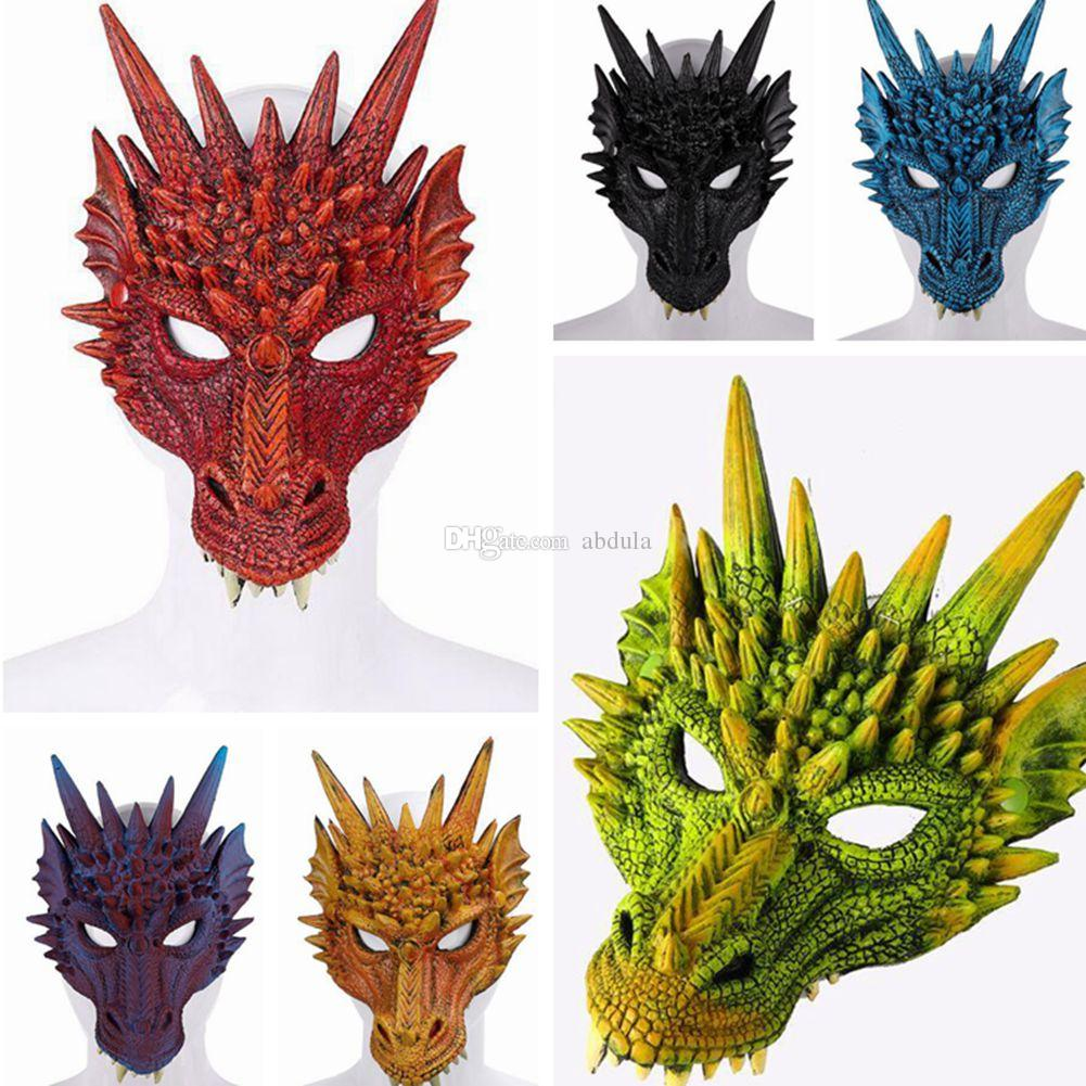 Mardi Gras Party Mask 3D Dragon Mask Scary Masks Halloween Color Mix PU Foaming 3D Full Face Adult Animal Dragon Mask Festive Supplies