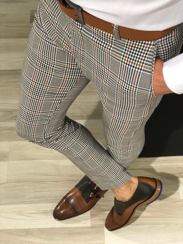 New Arrival Casual Plaid Suit Pants Spring Brand Business Formal Wear Dress Pants Men Slim Fit 2020 Men Clothes Trousers Male