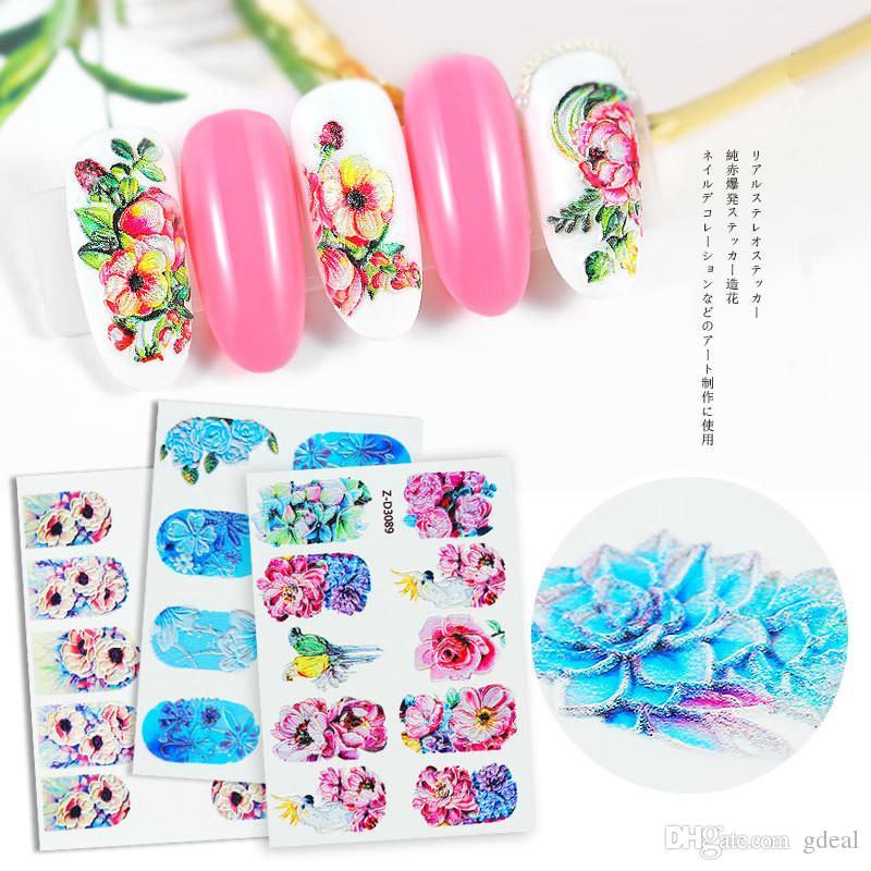 5D стикер ногтя цветок серии тиснением водяной знак стикер ногтя наклейка ногтей аппликация водная паста 3 компл.