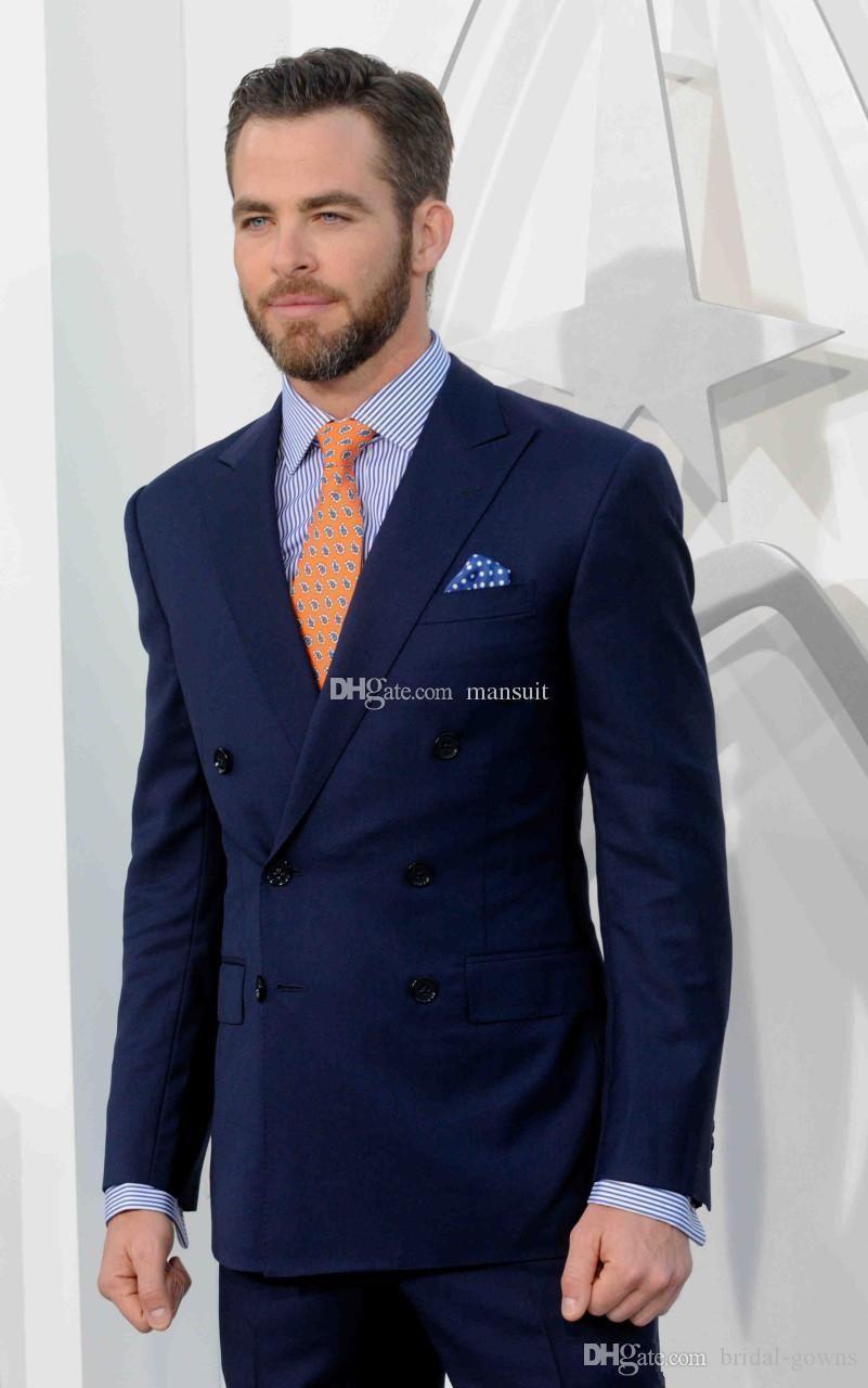 Doppio Petto Groomsmen picco risvolto smoking dello sposo Blu Uomini Abiti da sposa / Prom Best Man Blazer / sposo (Jacket + Pants + Vest + Tie) M714