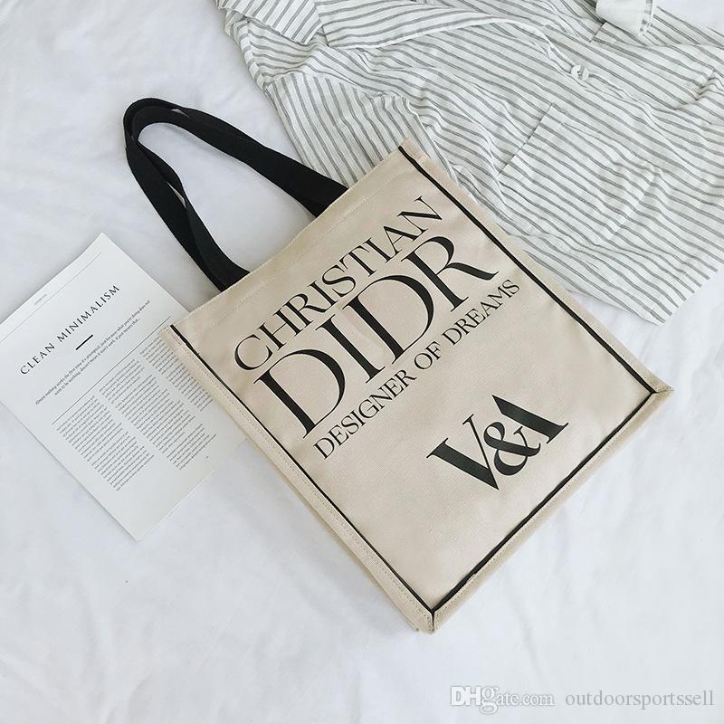 Dun V un nombre D casa misma bolsa bolsa de la compra impresa letra del bolso de la lona museo co