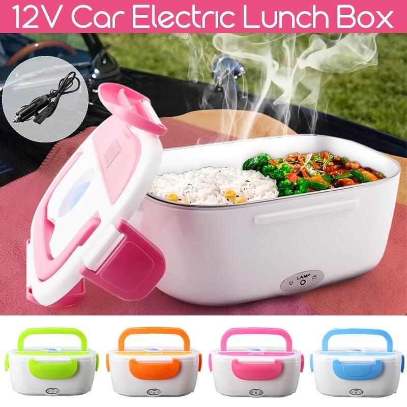12V Car Plug Boxes Electric Heating Lunch Box Food Heater Portable Bento Office Home Foods Warmer with Removable Container Spoon