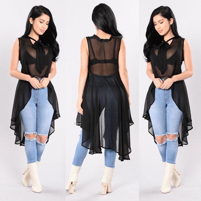 Hirigin Sexy Womens Transparent Fluoroscopy Sleeveless Women's Blouses & Shirts Women's Clothing Loose Blouse Casual Shirt Summer Tops