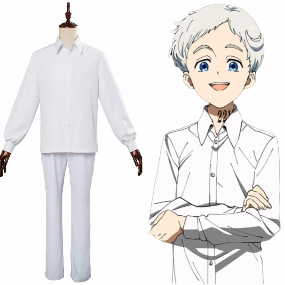 The Promised Neverland Ray Norman Emma Cosplay Costume White Top Skirt Pants Set