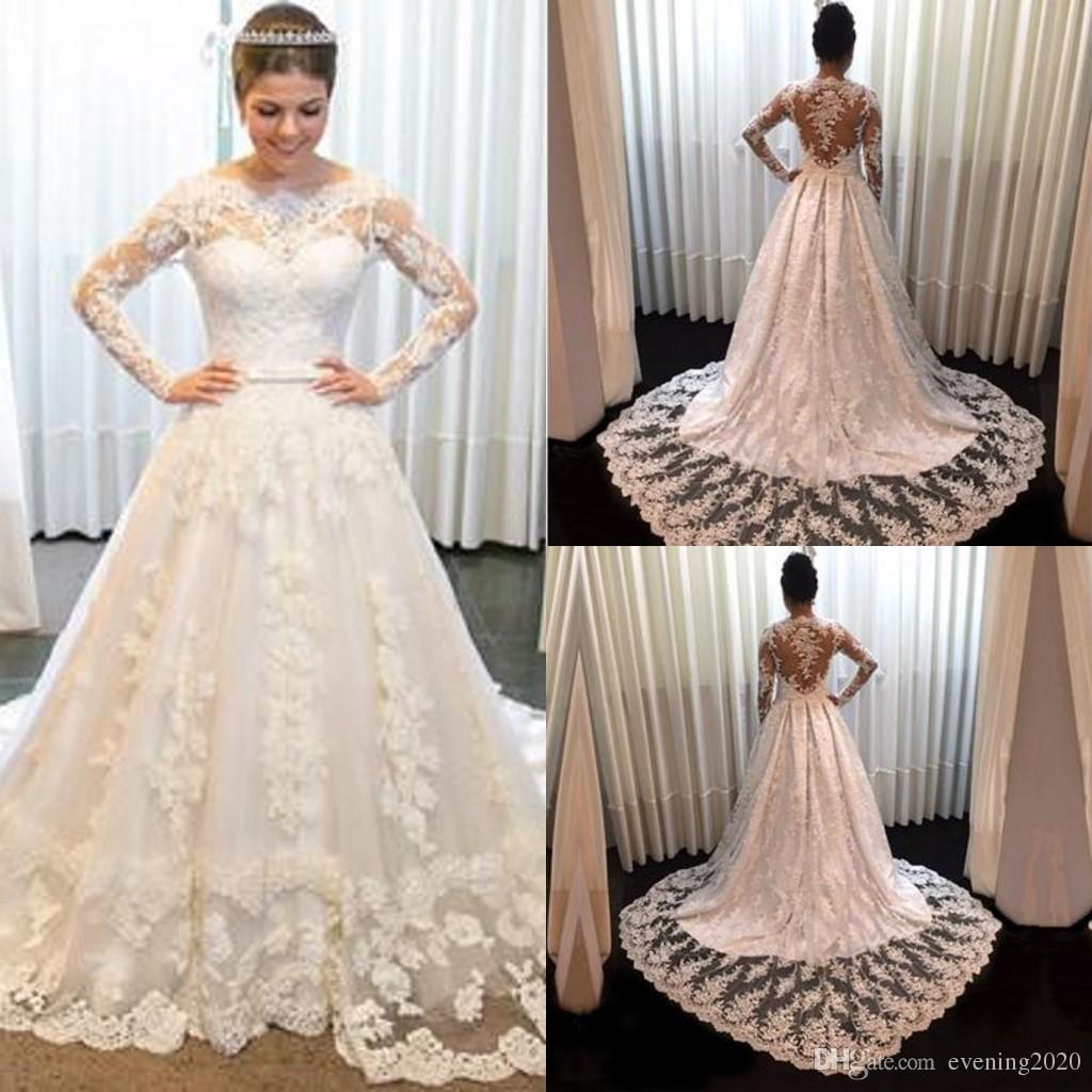Благородные свадебные платья Темперамент Винтаж с длинными рукавами Кружева 2018 Принцесса Свадебные платья Швабры Длинные секции Свадебные платья