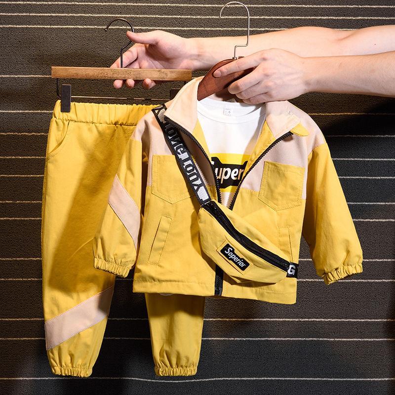 2020 Nuovo set di moda (coat + pant + bag) versione coreana del bambini ragazze dei ragazzi della Primavera Autunno due pezzi di vestiti per bambini
