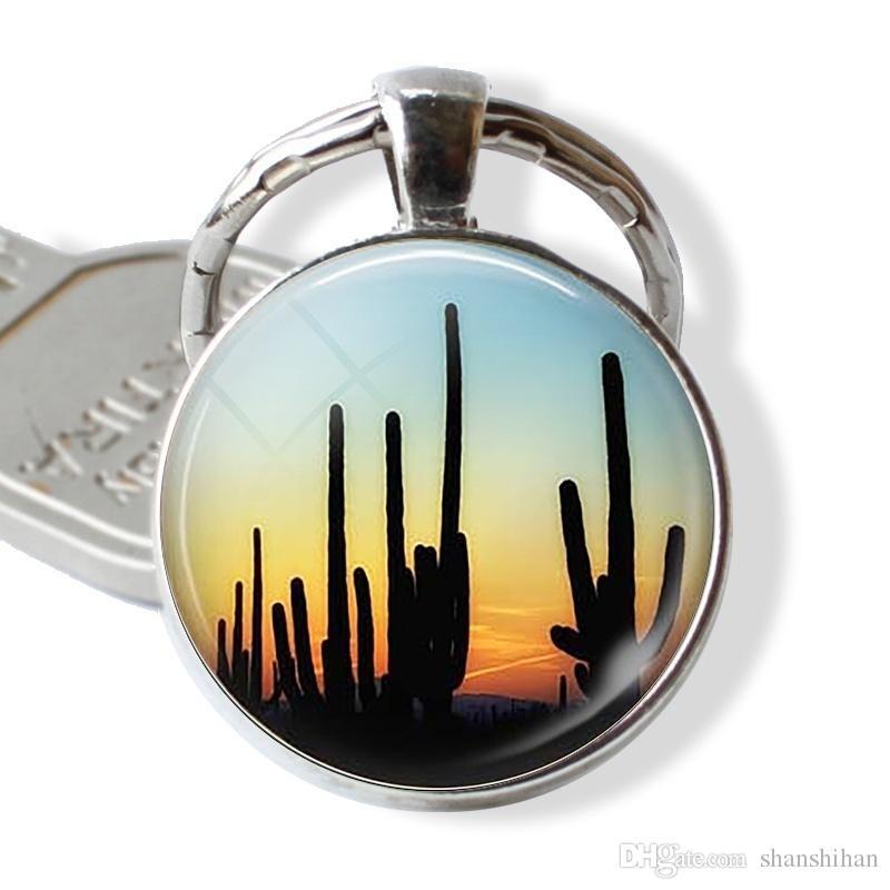 Arizona Desert Sauguro Cactus Sunset Key Chain Delicate Jewelry Charm Birthday Gift Silver Plated Handmade Glass Fashion Accessories
