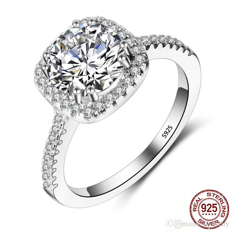 100% 925 Sterling Silver Classic 7mm CZ Diamond Rings Romantic Wedding Engagement Rings Anniversary Gifts Fine Jewelry XR063