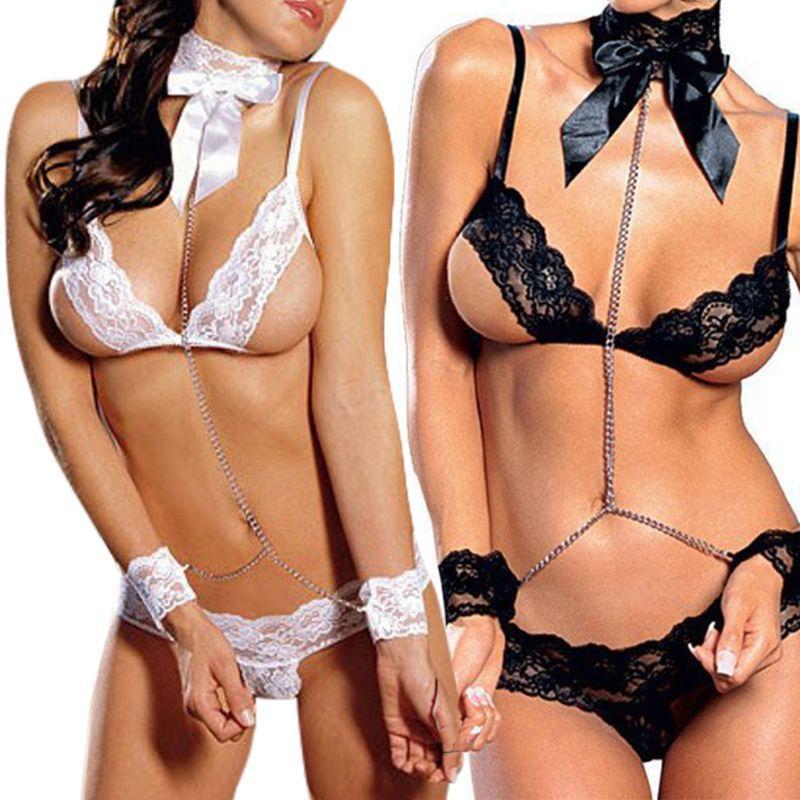 Womens Hollow Out Open Cup Sheer Lace Temptation Lingerie Set Prisoner Suit Bowknot Collar Sex Handcuffs Chain Low Waist Briefs