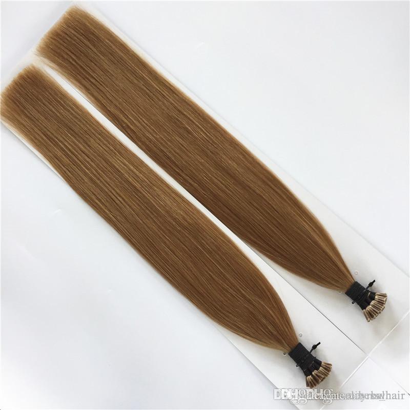 Doppeltes gezeichneten-100% Menschenhaar-Verlängerungs-Stick / I Spitze in Haare 0,8 g / s160g 200Strands 14 16 18 20 22 24 26 Zoll indisches Remy Haar 8 Farben
