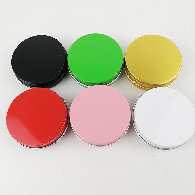 2 أوقية 60 ملليلتر 60 جرام متعدد الألوان علب الألومنيوم جولة غطاء المسمار علب معدنية الجرار حاويات الشريحة الانزلاق فارغة