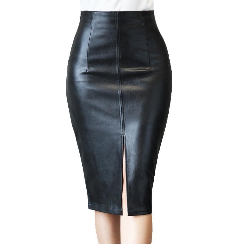 Mulheres Preto PU faux couro saia lápis de cintura alta roupas Outono Inverno Zipper Skinny Sexy Bodycon Midi Escritório saias das mulheres