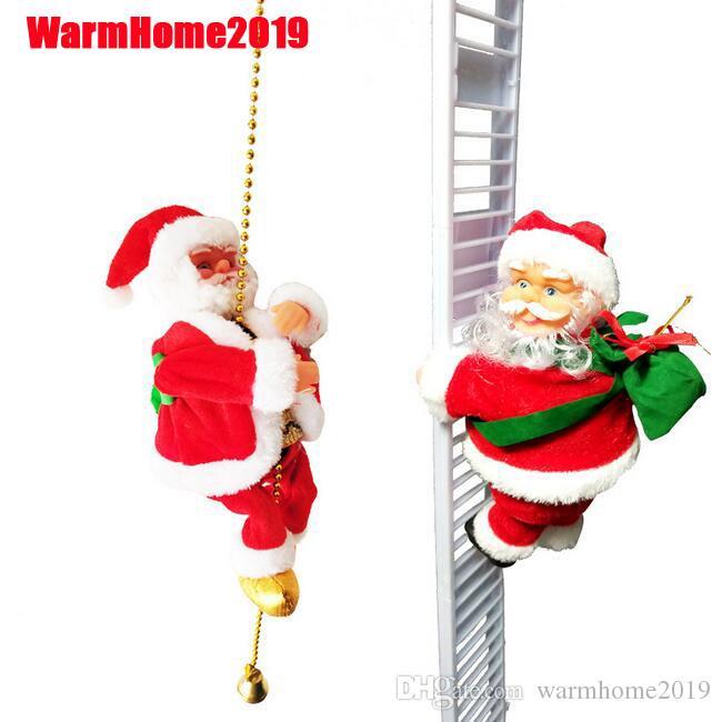 10pcs precioso Música de Navidad de Santa Claus eléctrico escalera subida Decoración colgante ornamentos de navidad divertido Año Nuevo regalos para niños de DHL