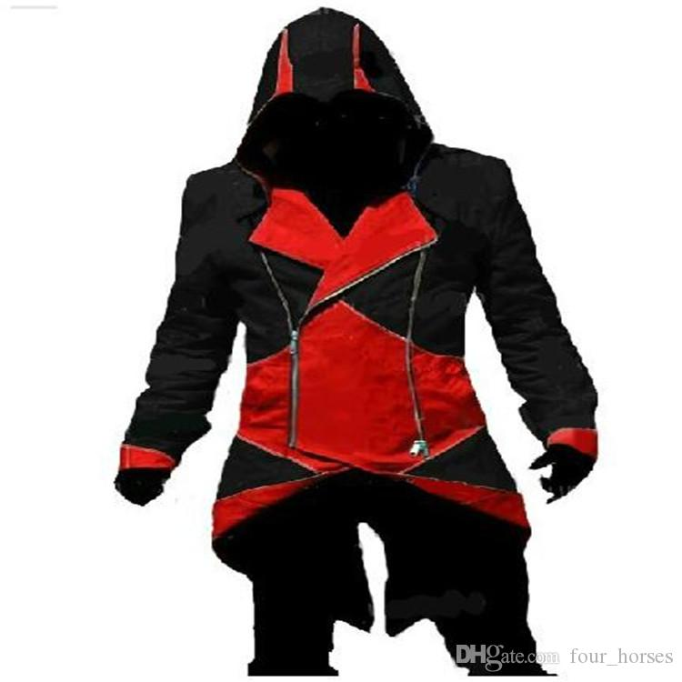 Tamaño Assassins Creed 3 III Connor Kenway sudaderas Mens Coats capucha Cosplay Jackets Plus Male Uniforme Casual Coats COS Jackets XXS-5XL NUEVO