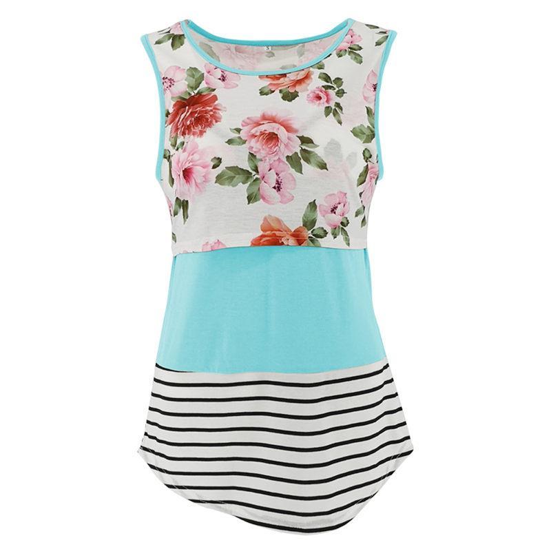 Maternidade roupas de grávida Mulheres Vest Mom Amamentação T-shirt Enfermagem Coletes Floral Verão Lace Top Plus Size