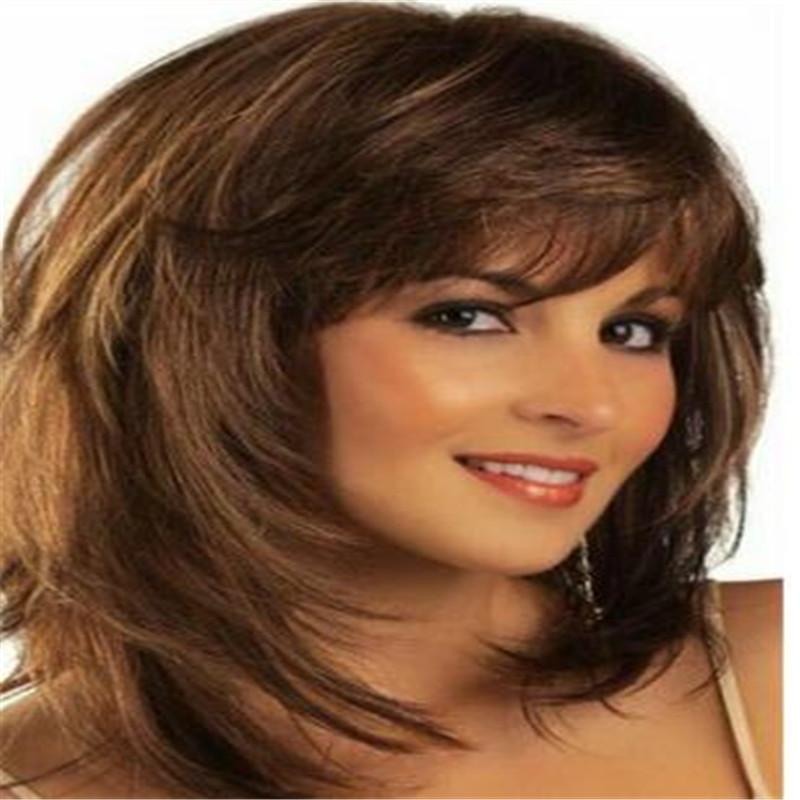 100% cheveux humains nouveau charme Fluffy femmes brun moyen Straight Perruques naturel