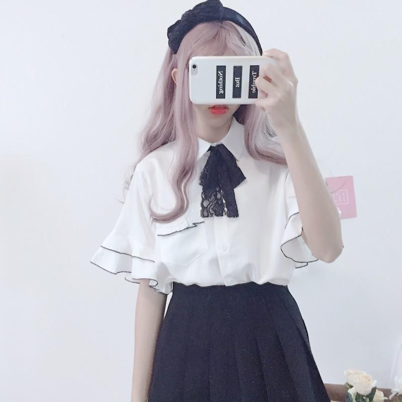 Korean Sweet Women's Ruffle Flare Sleeve Blouse Shirt 2019 New Turn Down Collar Lace Bow Lolita Blouses Preppy Style Blusas Tops Y19062501