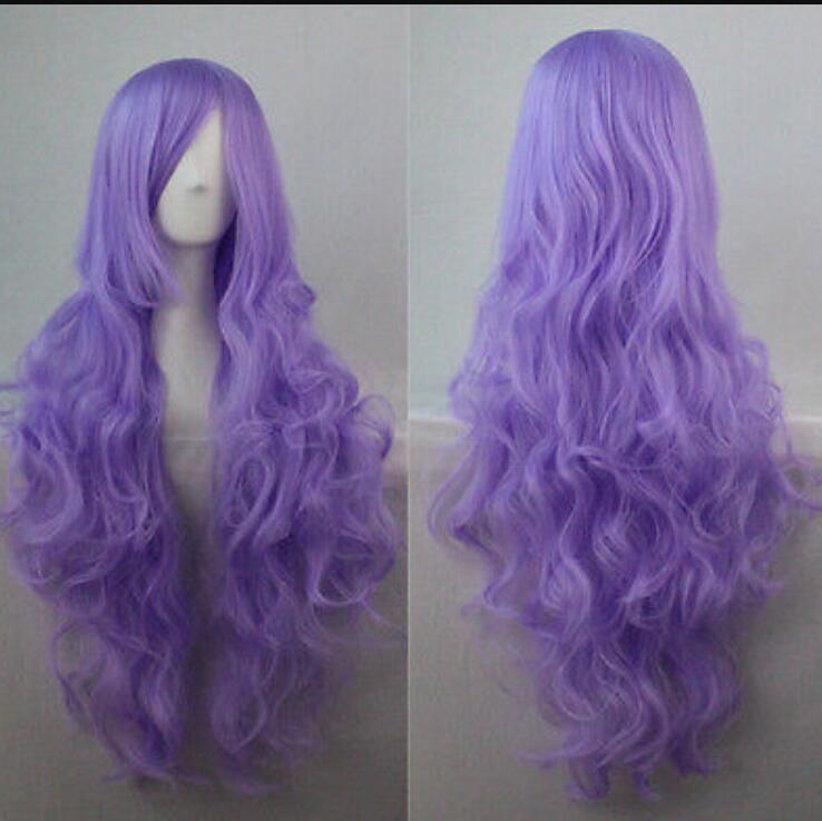 WIG free shipping Womens-Long-Hair-Wig-Curly-Wavy-Synthetic-Anime-Cosplay-Party-Full-Wigs 94rty Wig 91
