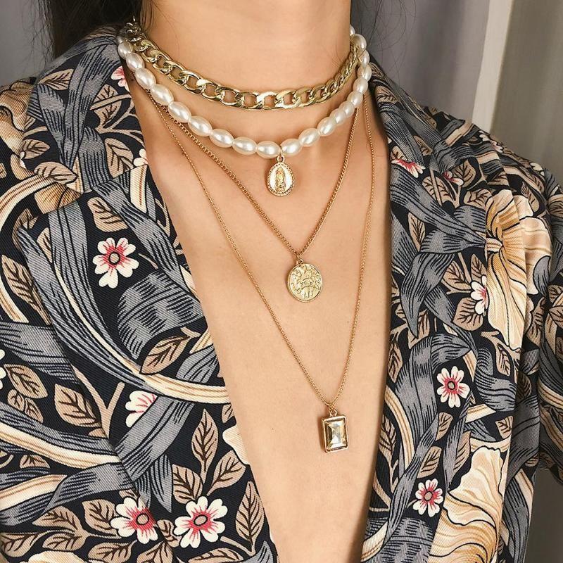 Многослойная Монета Кулон Свитер Цепи Ожерелье Женщины Ювелирные Изделия Декор