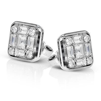 Gem-Piazza artificiale di Zircon Diamond Engagement Orecchini
