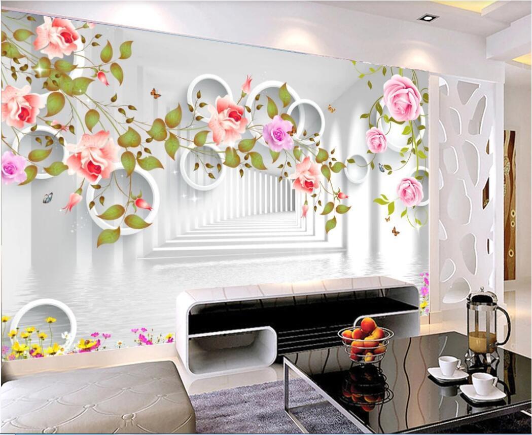 WDBH 3d wallpaer пользовательские фото 3D в европейском стиле, романтические розы и бабочки 3 ТВ фон обои стена для стен 3d