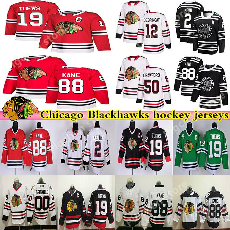 Chicago Blackhawks de hockey masculin 88 Patrick Kane 19 Jonathan Toews 2 Duncan Keith Clark Griswold Brandon Saad Crawford Hockey Maillots