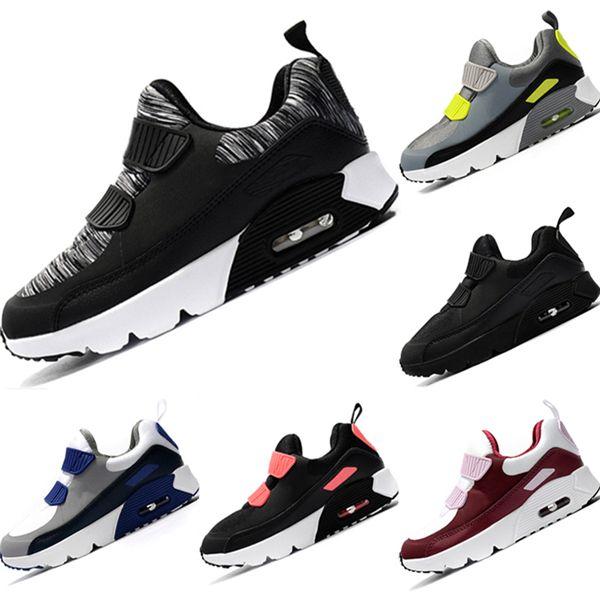 NIKE AIR MAX shoes Atacado Novo Minúsculo 90 s Couro e Tecido Respirável Running Sneakers Crianças 90 OG AirCushion e EVA Amortecimento Ao Ar Livre Sapatos esportivos