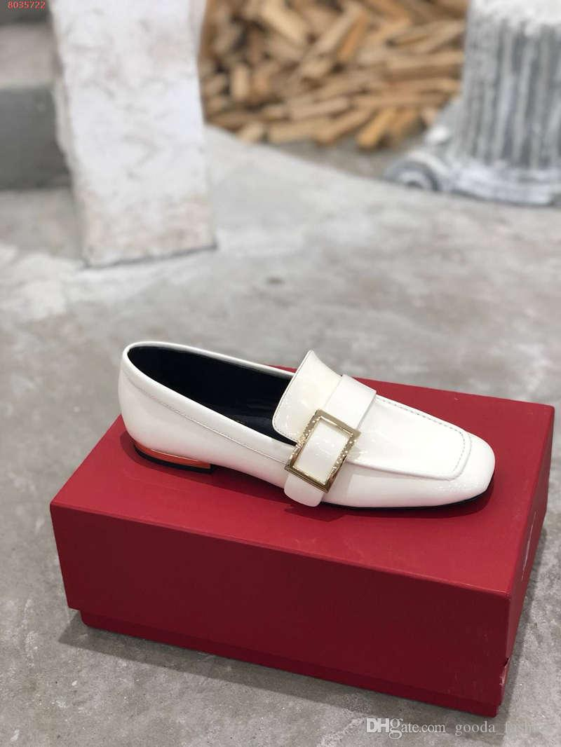 Women classic leather shoes ,Shiny patent leather loafers, low-heeled Leather oversole casual outdoor sandals