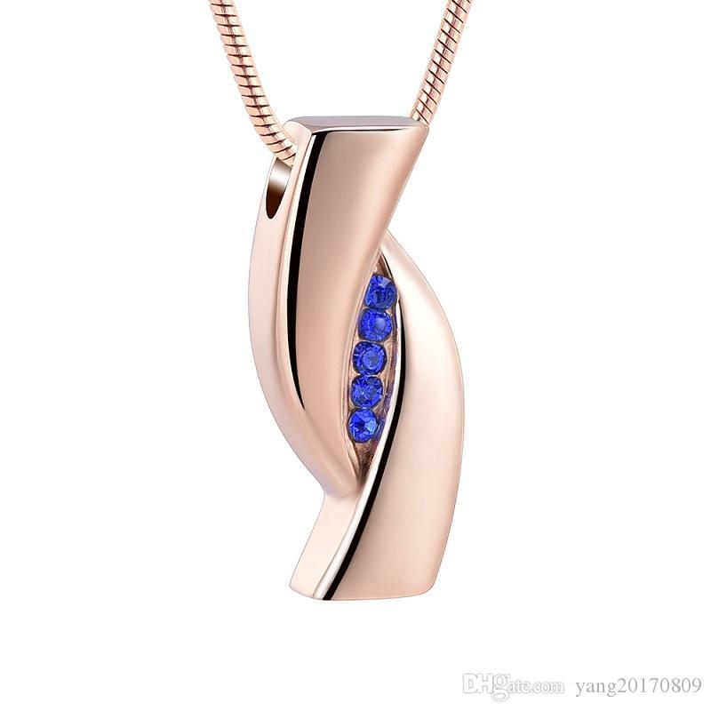 IJD12838B acier inoxydable Crémation or rose Pendentif bleu Inlay cristal Memorial pour les cendres d'un être cher Keepsake Urne Bijoux Collier