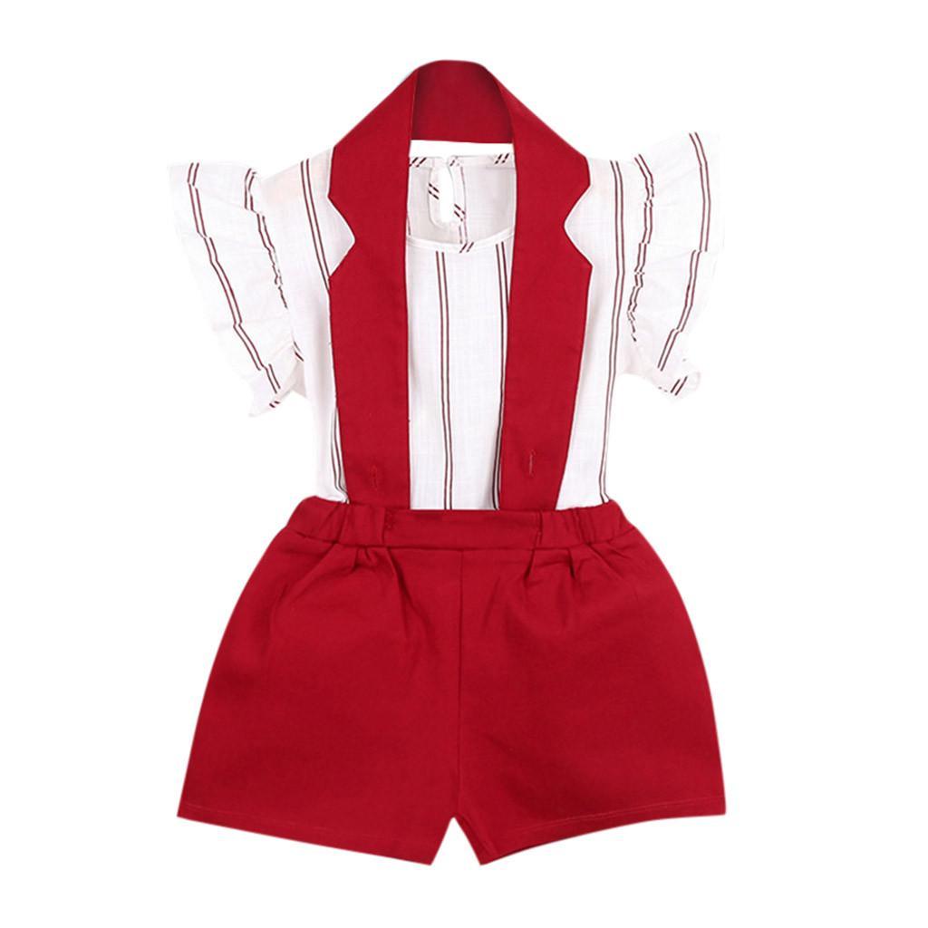SAGACE Çocuk takımları Çocuk giyimi Kıyafetler Çizgili tişört Pantolon Seti Jun4 çocuk Çocuk Giyim Yaz setleri kızlar mayo