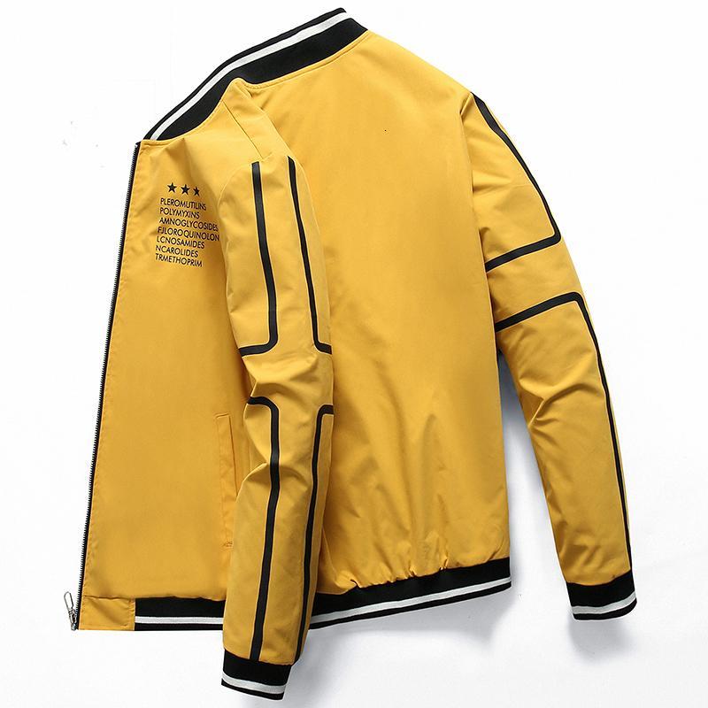 Bomber Jacket Zipper nuovi uomini di abbigliamento di marca per gli uomini Uomo sportivo cappotto qualità di stampa capispalla maschio nero 0625 LY191206
