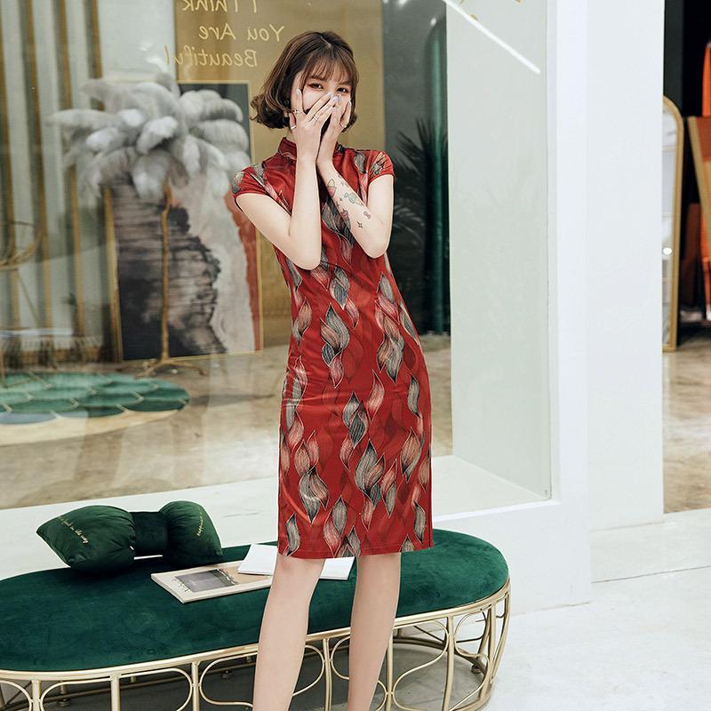 섹시한 레드 차이나 데일리의 인쇄 짧은 미니 Qipao 드레스 슬림 드레스 여성 중국어 실크 Qipao 아름다운 S-4XL