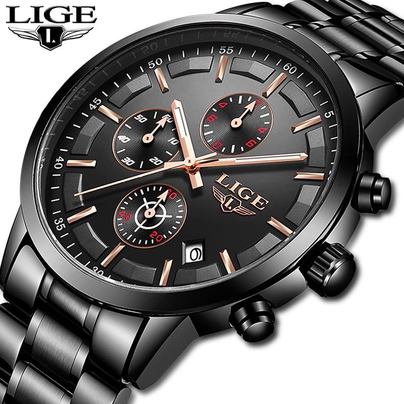 2019 LIGE Relojes para hombre de primeras marcas de lujo para hombre Moda Reloj de cuarzo para hombres Todo acero Reloj impermeable para hombres Reloj deportivo Relogio