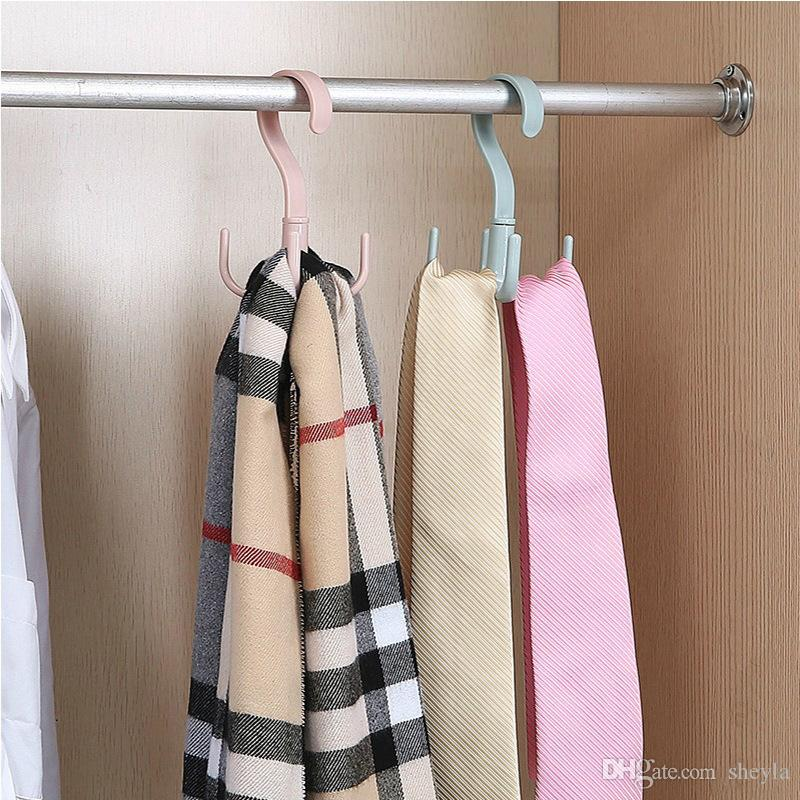 360 degree rotating 4 hook plastic handbag clothes bundle pocket rack hanger rack storage rack hook scarf storage hook