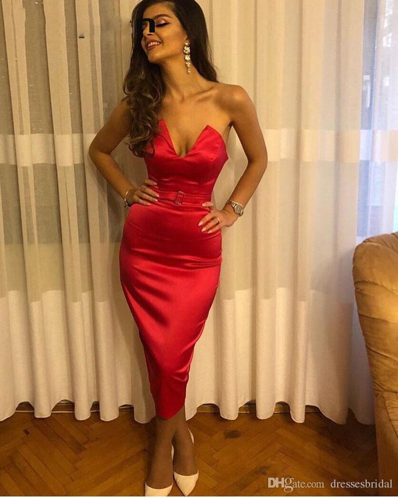 Longitud del té sexy vestidos de baile 2019 v cuello sirena estiramiento satinado vestidos de fiesta vestidos de fiesta por la noche vestido de gala barato