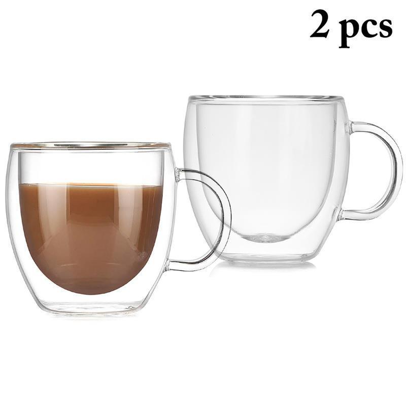 2pcs 5.1oz Transparent Glass Coffee Mug Creative Double Wall Layer Insulate Tea Coffee Cup Mugs Water Heat Resistant Drinkware T8190627