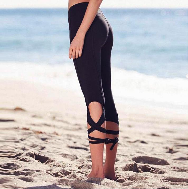 Wrap-around yoga pants fitness pants dance ballet straps tight yoga seven points leggings factory direct1