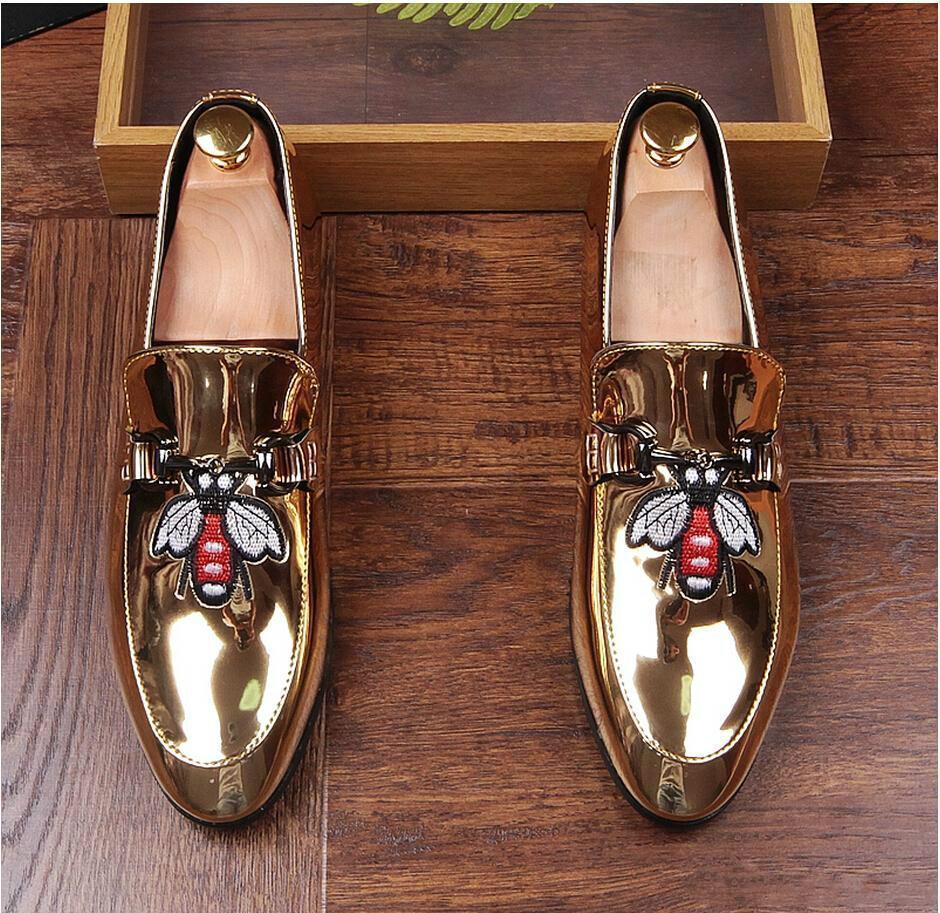 Лучший Новый 2018 прибытие женская мода Повседневная обувь золото / черный блеск досуг скольжения вышивка мокасины обувь человек Партии прополка платье Sho d09