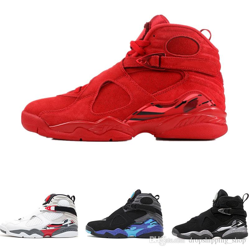 새로운 새로운 arrivel mens 농구 신발 8 발렌타인 데이 아쿠아 릴리스 크롬 8s 최고 품질의 스노우 즈 트레이너 신발 크기 8-13
