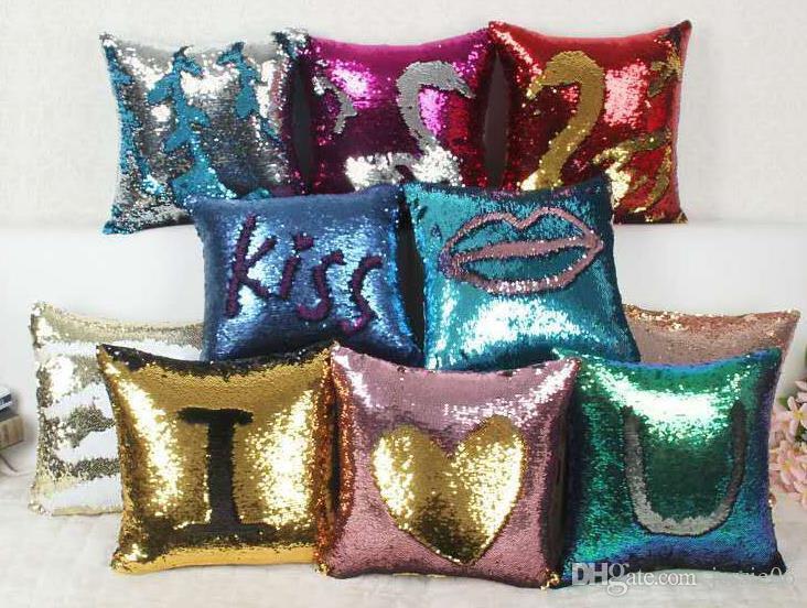 """Sequin Coussin Housse de coussin Case Glitter sirène Fairy Tale Faux Doux suède Throw Party Taie Seat Canapé-lit Décor 16 * 16"""""""