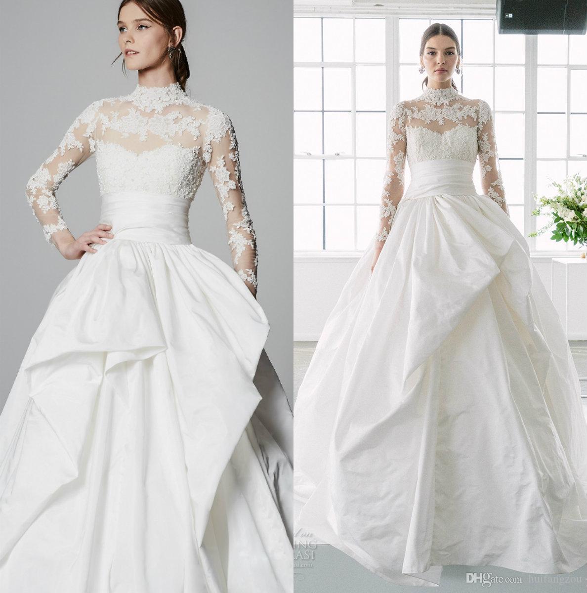 Marchesa Modest Brautkleider 2020 Spitze Appliziert Hoher Kragen Sweep Zug Land Brautkleid Nach Maß Plus Size Bohemian Brautkleid