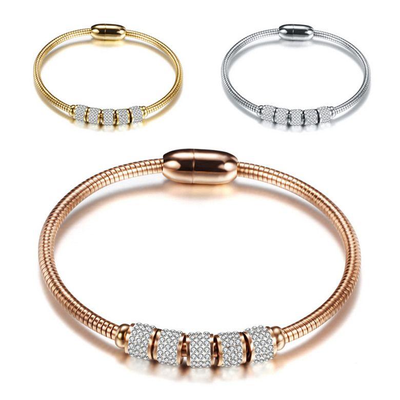 Pulseiras de aço de titânio elegante moda de alta qualidade pulseiras de charme de zircão Atacado 18k pulseiras de aço inoxidável de ouro chapeado LBR043