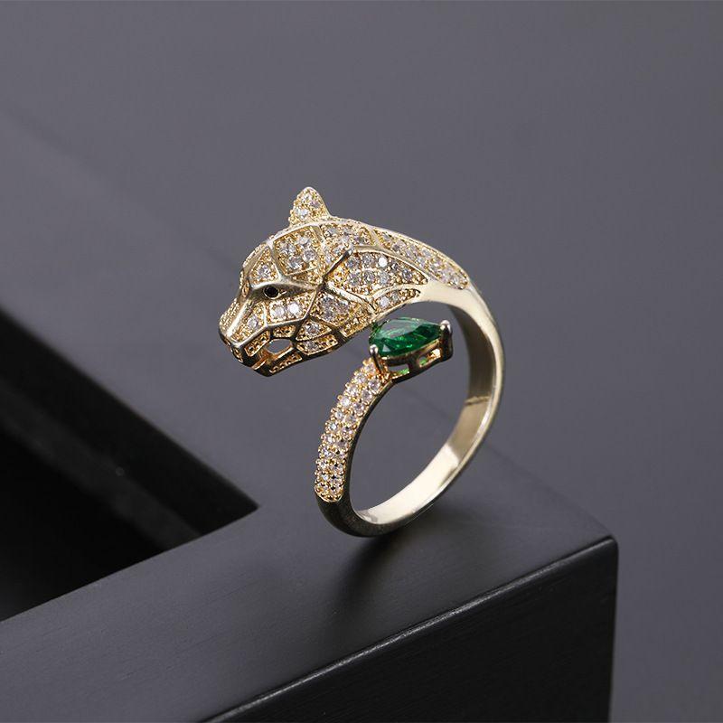 leopardo cabeza alternativa micro incrustaciones de circón anillo personalidad de la moda y el oro abierta de envío libre del anillo de los hombres y de las mujeres anillo