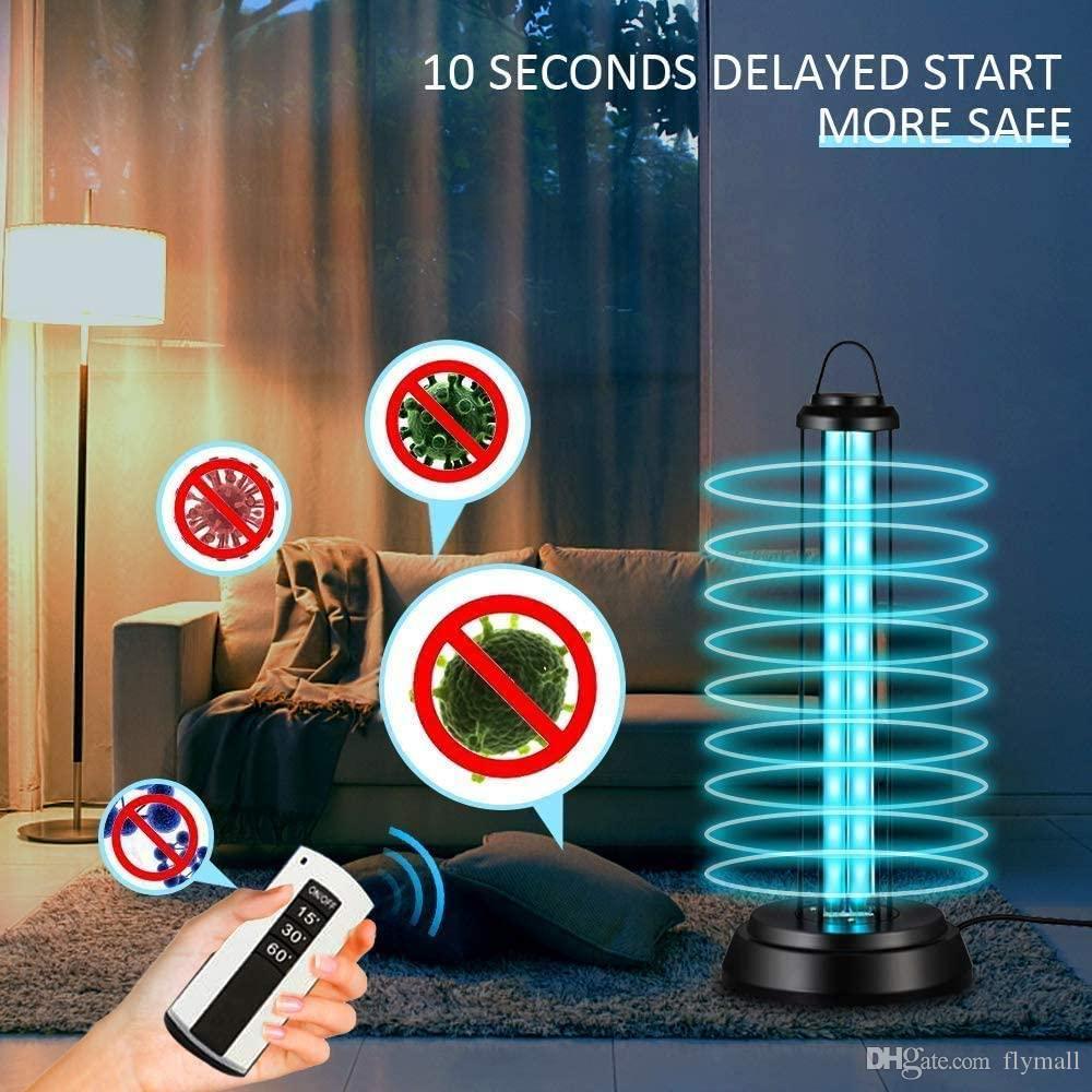 38W lumière UV assainisseur UV-C désinfection UV germicide lumière de la lampe portable avec l'ozone télécommande Troisième vitesse Moment d'ampoule UV
