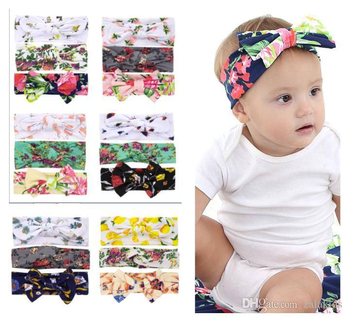 Big bow Children Flower printing Headbands 2019 new Bohemian Hair Band Hair Accessories Head Wrap For Girls Childrens 3pcs set