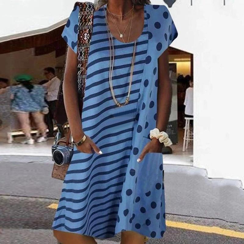 Женщины платье лета вскользь Boho Stripe Print Dress O-образный вырез с коротким рукавом Свободного карманного Бичом Мода Плюс Размер для женщин