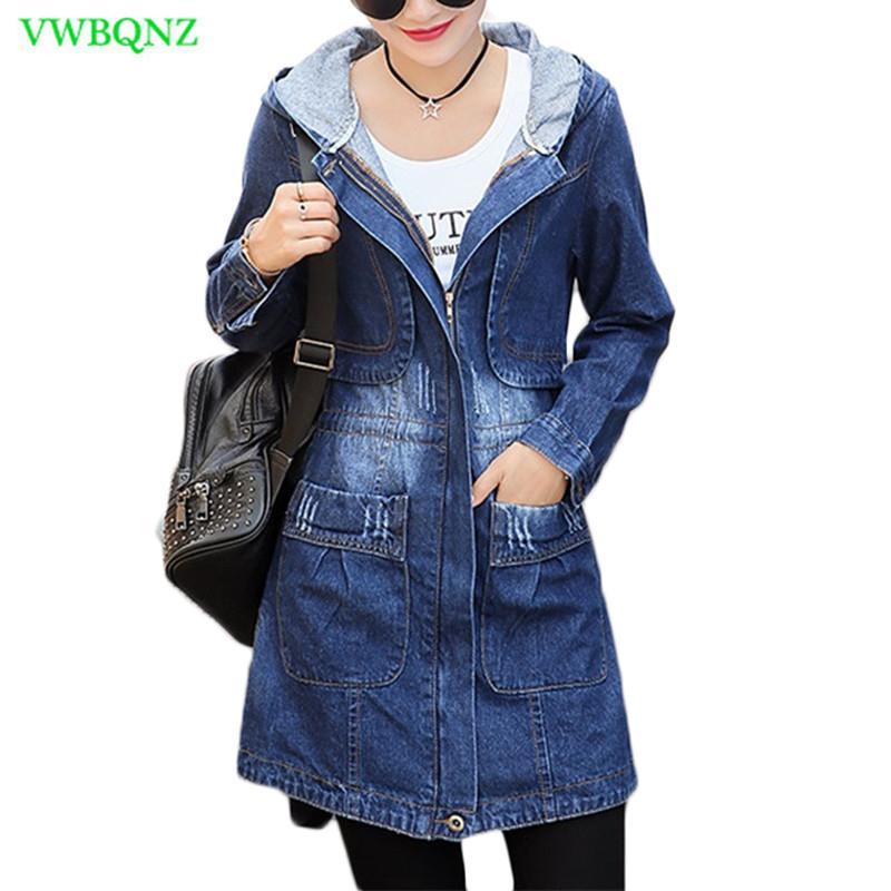 Primavera Otoño Nueva Chaqueta vaquera tamaño de las mujeres coreanas larga floja Jeans chaquetas de las mujeres de la cremallera Plus capa encapuchada básico chaquetas 3XL A513 Y191014