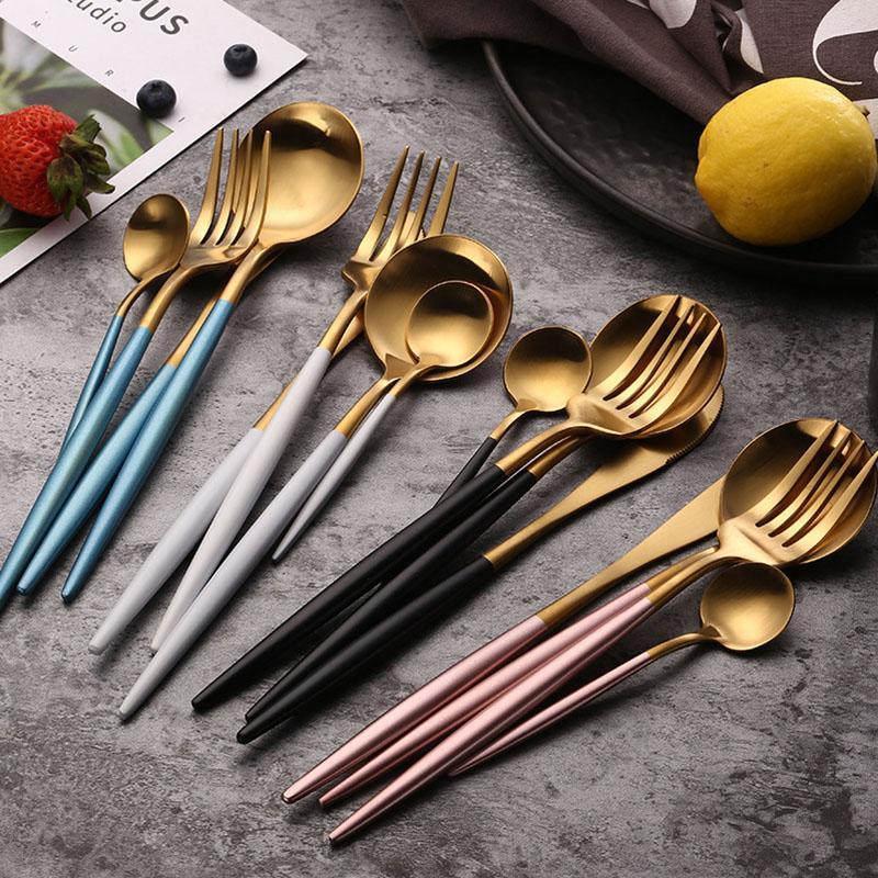 304 الوردي الأبيض عشاء مجموعة الفولاذ المقاوم للصدأ والسكاكين مجموعة ستيك سكين شوكة مجموعة ملعقة قهوة ملعقة صغيرة أطباق المائدة مطبخ Silverwar